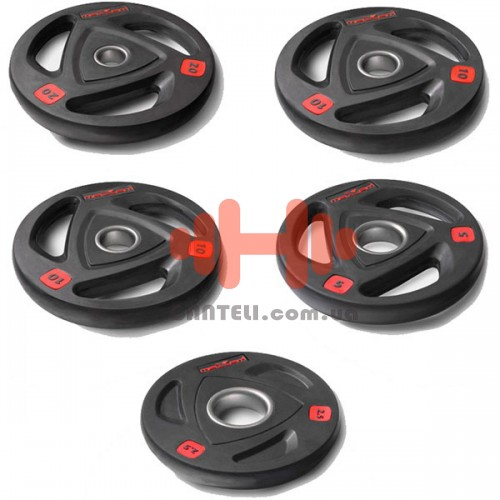 Комплект дисков Maxam 105 кг (обрезиненные D=50 мм), код: SM850