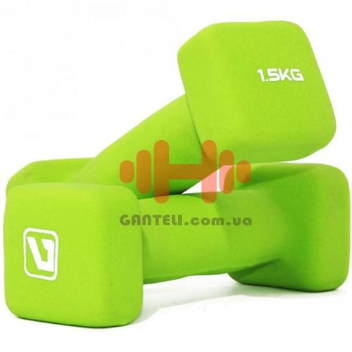 Гантели для фитнеса неопреновые LiveUp 2 х 1,5, код: LS2002-SQ15