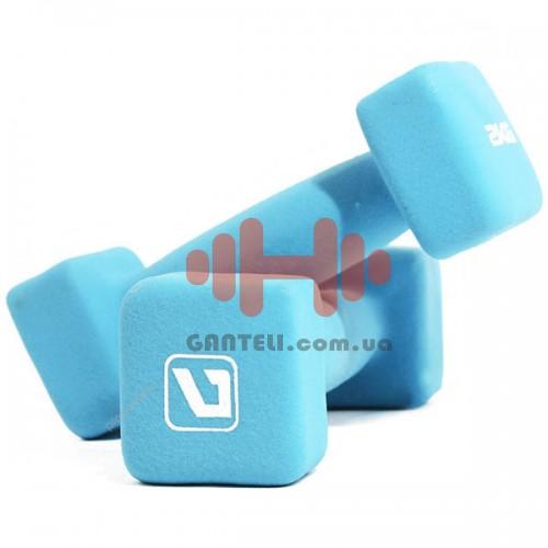 Гантели для фитнеса неопреновые LiveUp 2 х 2, код: LS2002-SQ2