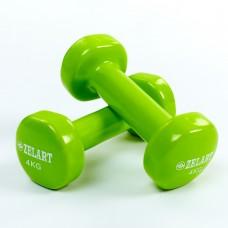 Гантели для фитнеса виниловые Zelart Beauty 2x4 кг код: TA-5225-4