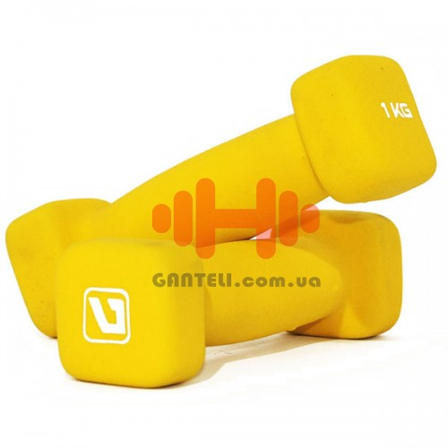 Гантели для фитнеса неопреновые LiveUp 2х1 кг, код: LS2002-SQ1