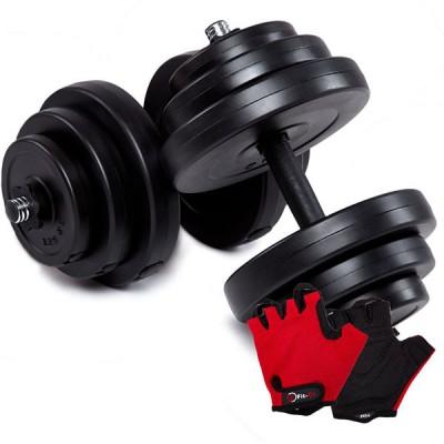 Гантелі CrossGym 2x18,5 кг + рукавички, код: 10714