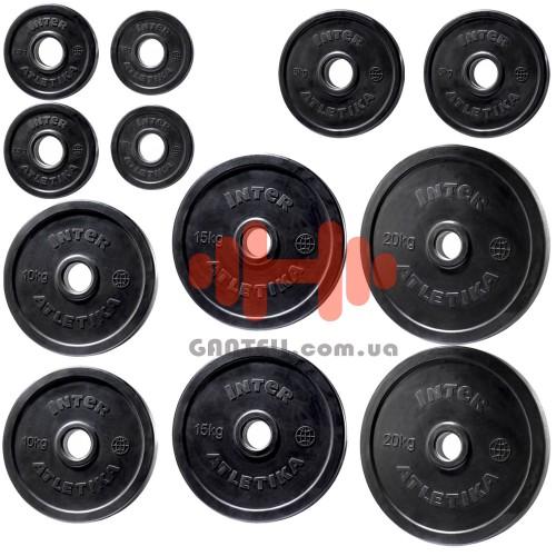 Комплект дисков InterAtletika 107,5 кг (обрезиненные D=50 мм), код: LCA022-028