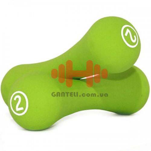 Гантели для фитнеса неопреновые LiveUp 2 х 2, код: LS2002-B2