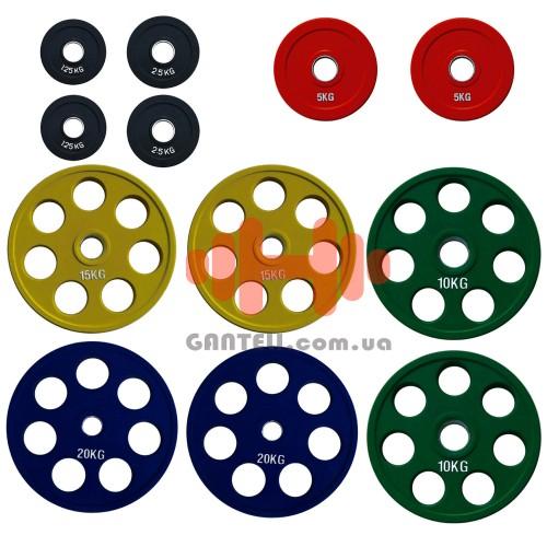 Комплект дисков Alex 107,5 кг (обрезиненные D=50 мм), код: RCP19